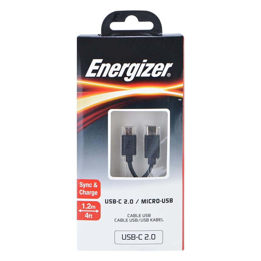 Cáp Sạc Chuyển Đổi USB Type-C 2.0 - Micro USB Energizer C11C2MCGBK4 (1.2m) - Đen - Hàng Chính Hãng