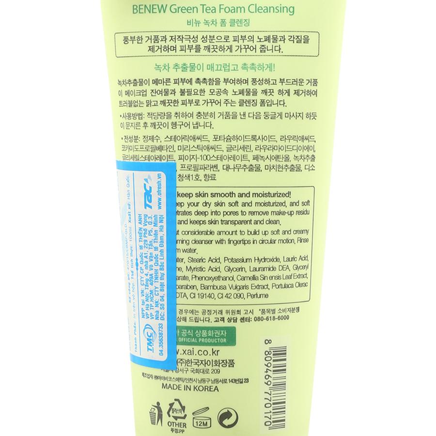 Sữa Rửa Mặt Trà Xanh Benew Green Tea Foam Cleansing (100ml)