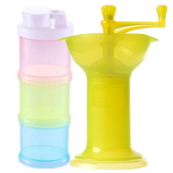 Combo 2 Hộp Chia Sữa 3 Ngăn Và Dụng Cụ Nghiền Thức Ăn Kidsme