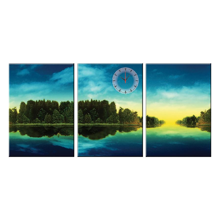 Tranh đồng hồ treo tường MẶT HỒ DỊU ÊM - Q6D6_35DH(14) Thế Giới Tranh Đẹp