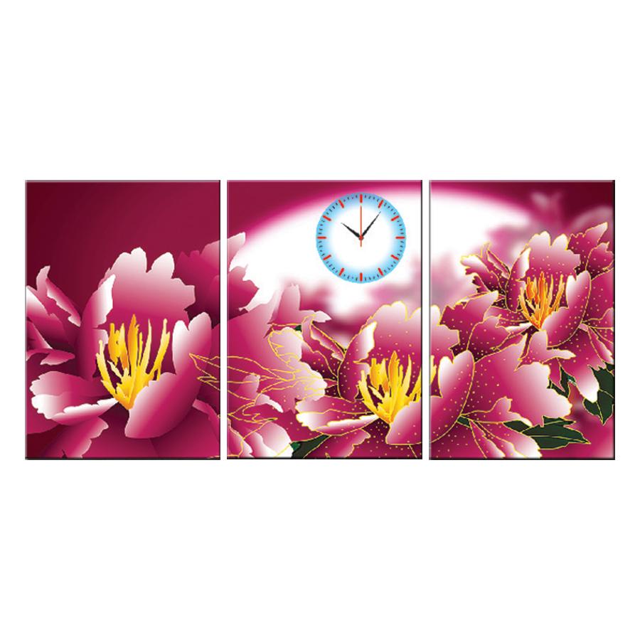 Tranh đồng hồ treo tường HƯƠNG HOA SẮC HỒNG - Q6D6_35DH(16) Thế Giới Tranh Đẹp