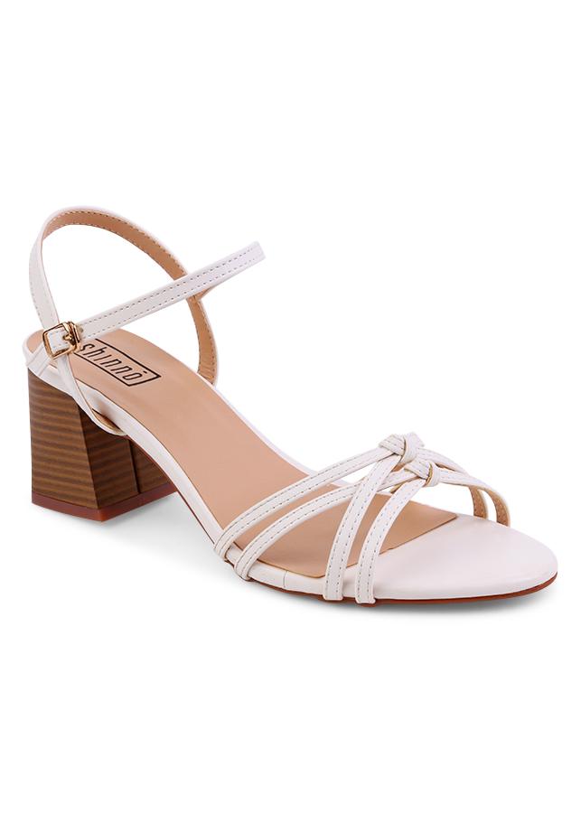 Giày Sandal Nữ Gót Vuông Shinno 19003 - Trắng