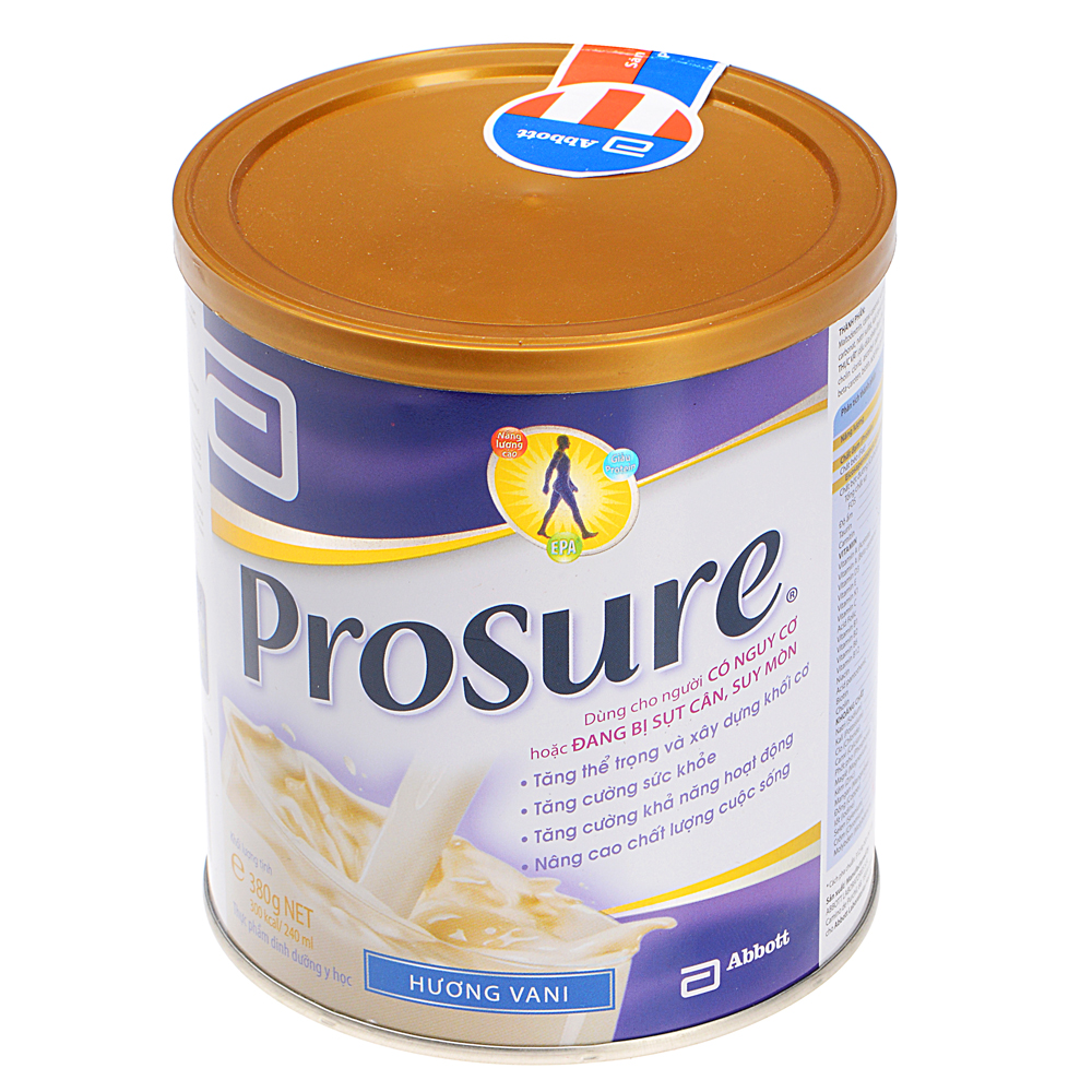 Sữa Bột Abbott Prosure Vanilla PROS Dùng Cho Người Có Nguy Cơ Hoặc Đang Bị Sụt Cân, Suy Mòn (380g)