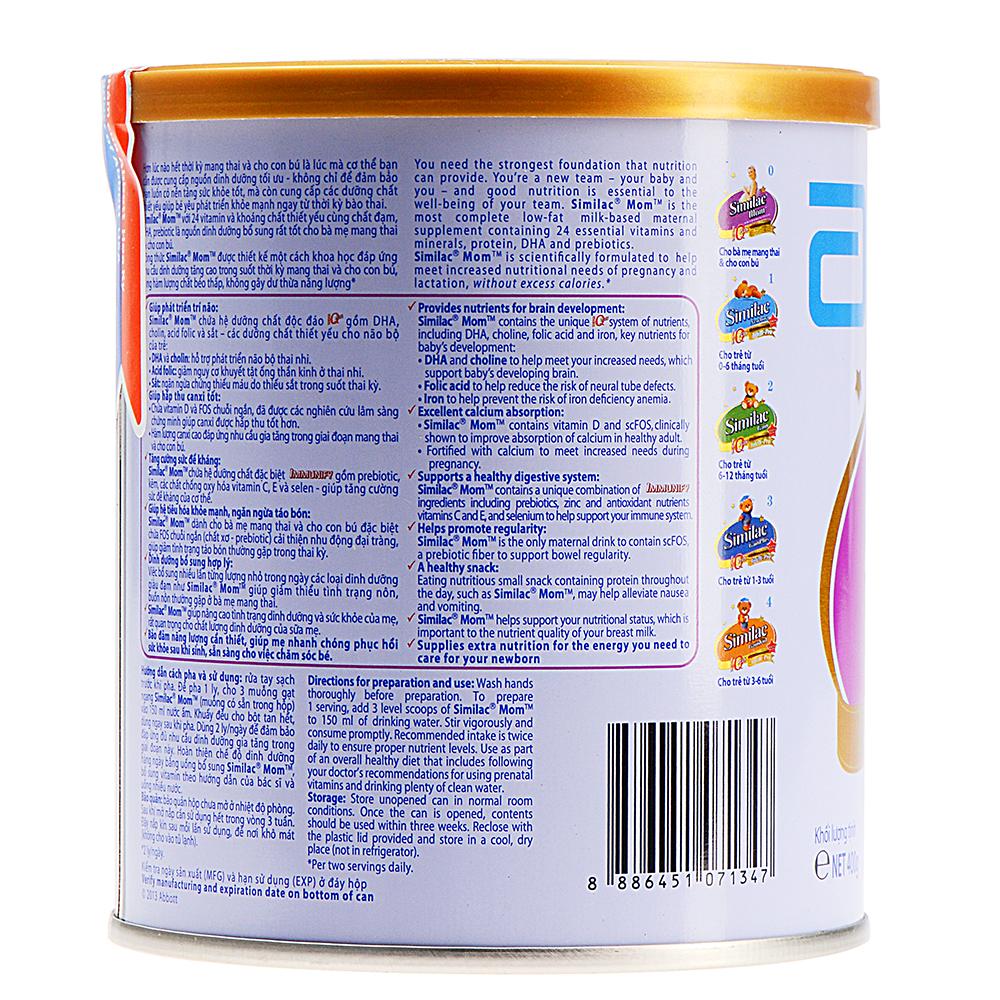 Sữa Bột Abbott Similac Mom SMAS Cho Bà Mẹ Mang Thai Và Cho Con Bú (400g)