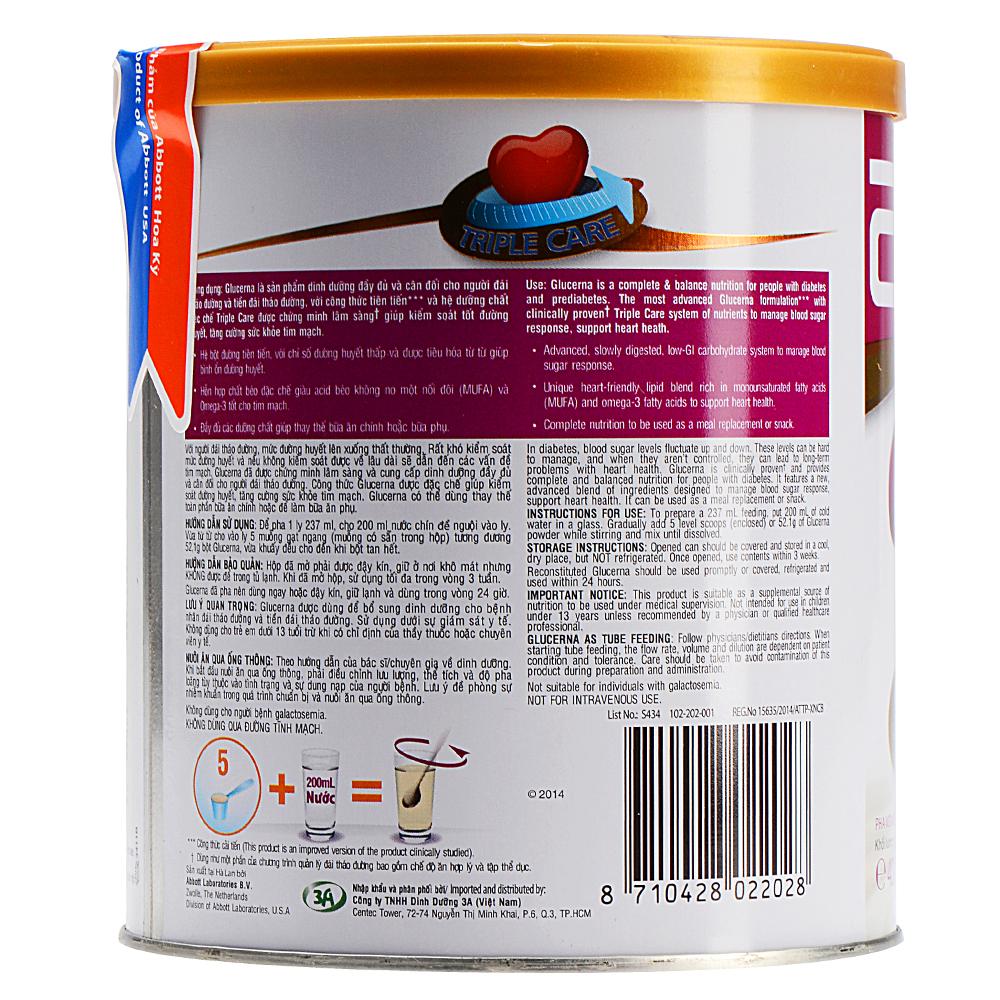 Sữa Bột Abbott Glucerna GLV Dành Cho Người Đái Tháo Đường Và Tiền Đái Tháo Đường (400g)