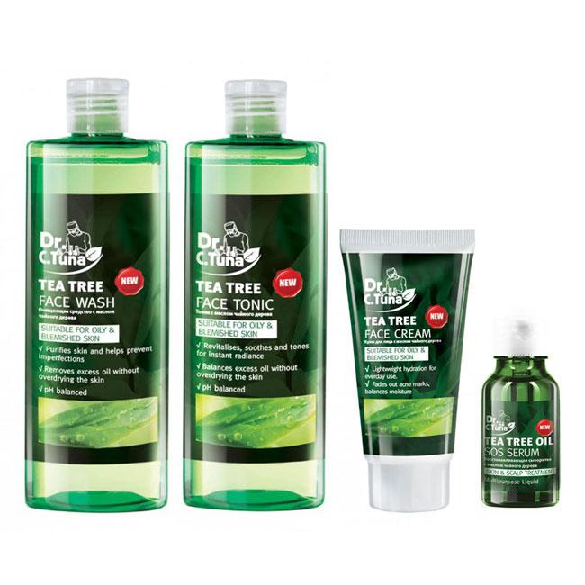 [Combo] Bộ 4 Tea Tree Trị Mụn: Gel Rửa Mặt 225ml & Tonic 225ml & Serum 10ml & Kem Dưỡng 50ml Farmasi