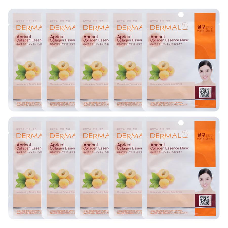 Combo 10 Mặt Nạ Dermal Tinh Chất Collagen Với Chiết Xuất Mơ