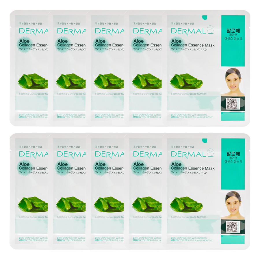 Combo 10 Mặt Nạ Dermal Tinh Chất Collagen Với Chiết Xuất Lô Hội