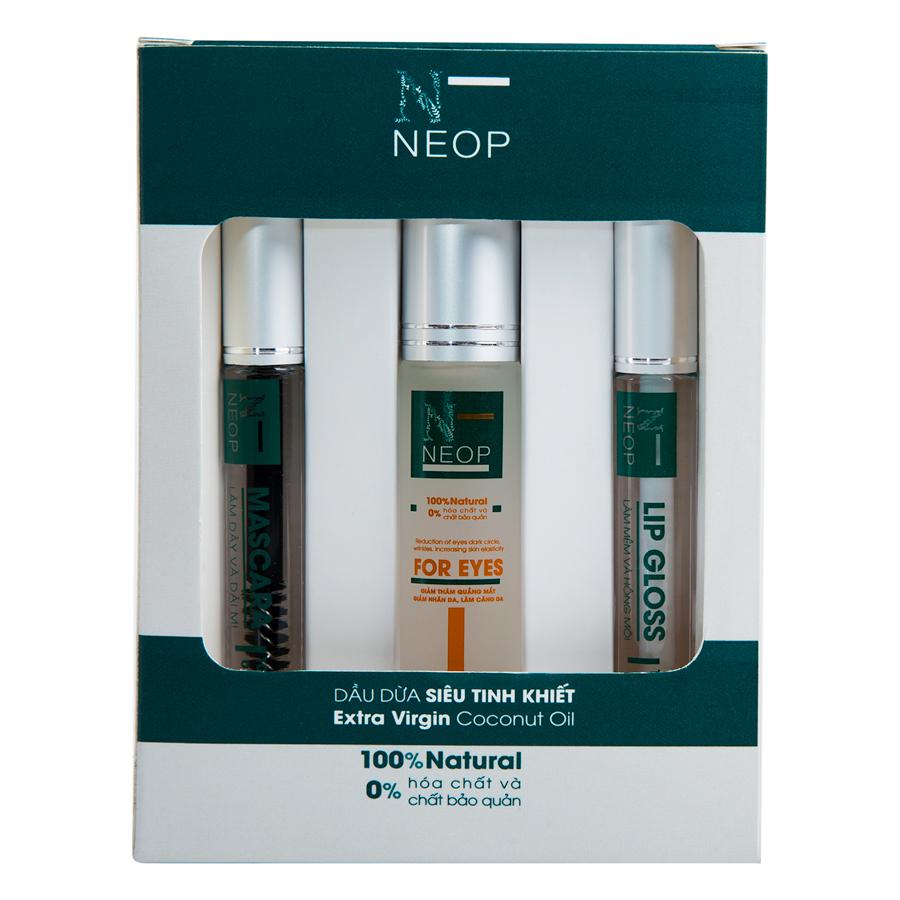 Bộ 3 Sản Phẩm Dầu Dừa Siêu Tinh Khiết Mascara, For Eyes, Lip Gloss NEOP