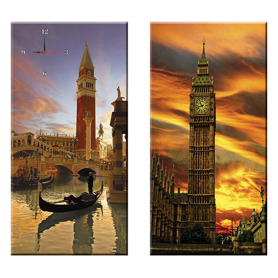 Tranh đồng hồ treo tường HOÀNG HÔN TRÊN PHỐ LONDON - Q22-OM-019-DH (30 x 60 cm) Thế Giới Tranh Đẹp