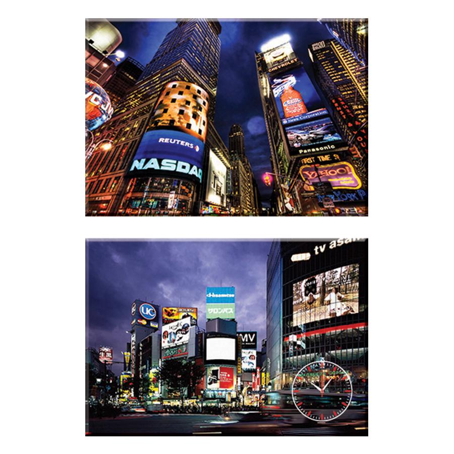 Tranh đồng hồ treo tường GÓC PHỐ PHỒN HOA - Q22-OM-265-DH (30 x 50 cm) Thế Giới Tranh Đẹp