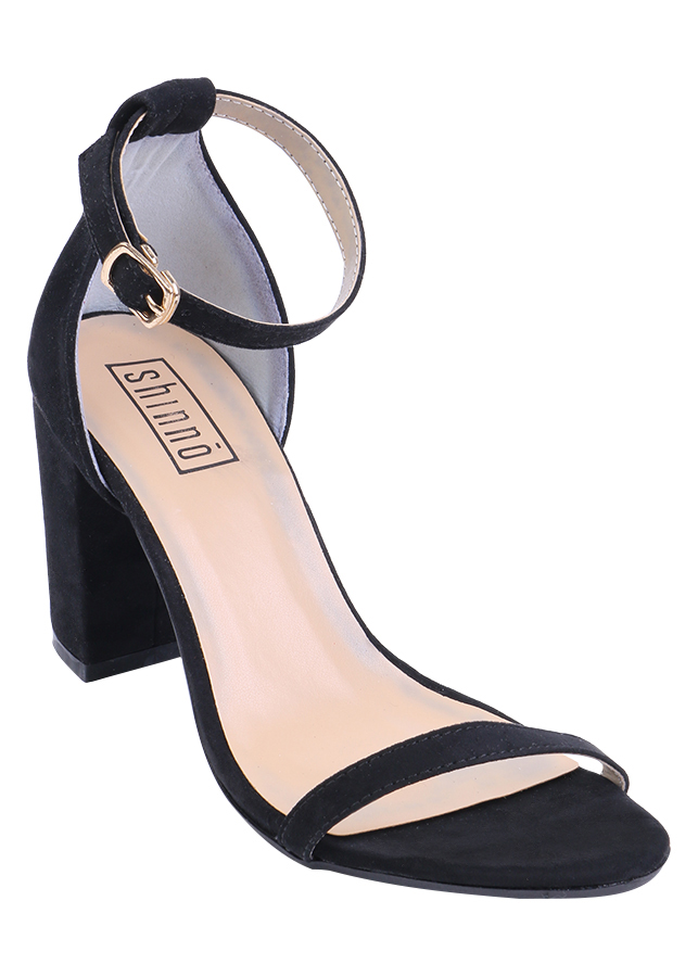 Giày Sandals Nữ Gót Vuông Shinno 90001 - Đen