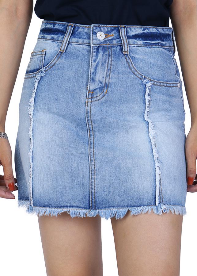Chân Váy Jeans Chữ A Lai Tua 010 A91 JEANS WSDBS010LG - Xanh Nhạt