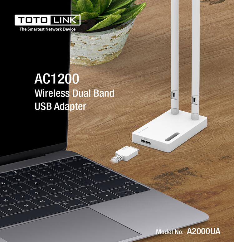 USB Wi-Fi Băng Tần Kép AC1200 TOTOLINK A2000UA - Hàng Chính Hãng
