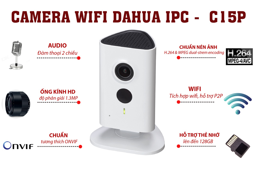 Camera Wifi Dahua 1.3Mp IPC-C15P