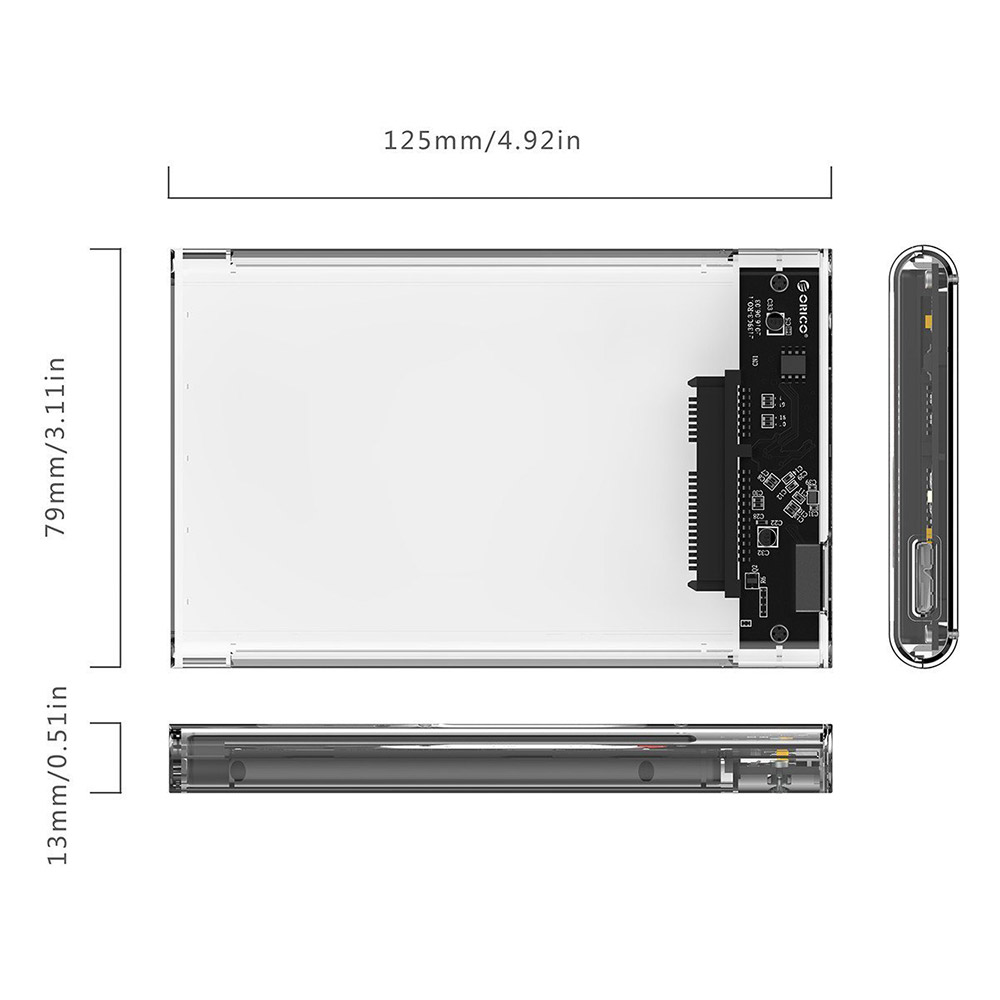 Hộp Đựng Ổ Cứng Di Động HDD Box 2.5 ORICO 2139U3 USB3.0/2.5 Nhựa Trong Suốt - Hàng Chính Hãng