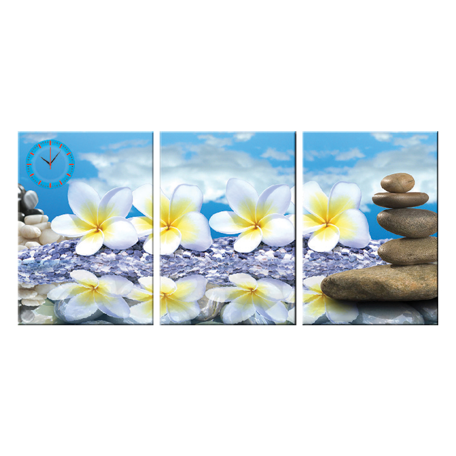 Tranh đồng hồ treo tường HOA TRẮNG THUẦN KHIẾT - Q6D6_35DH(26) Thế Giới Tranh Đẹp