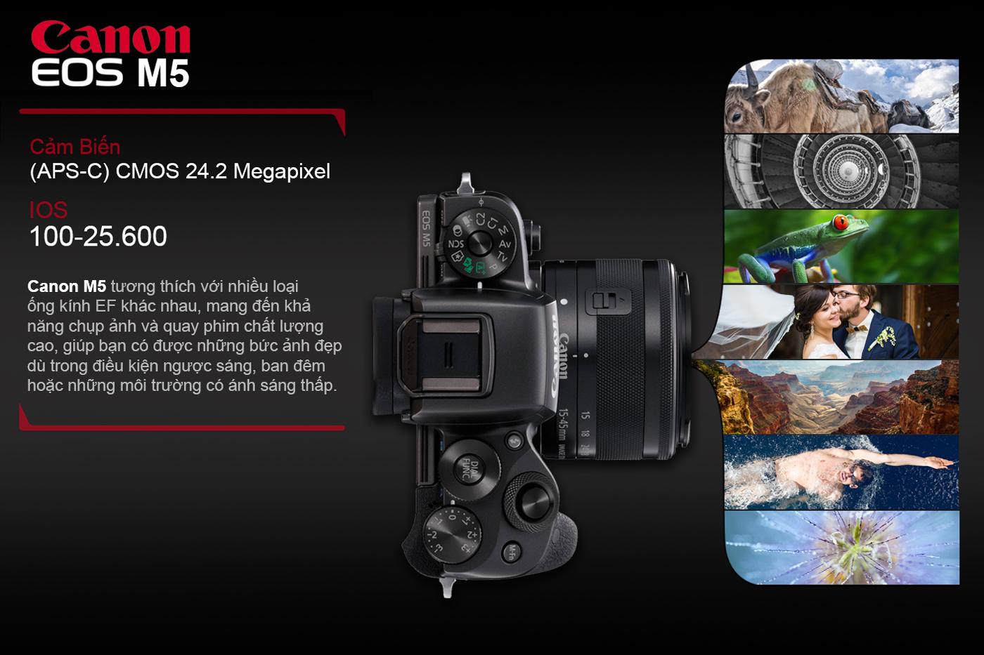Máy Ảnh Mirrorless Canon EOS M5 + Lens 15-45mm (Lê Bảo Minh)