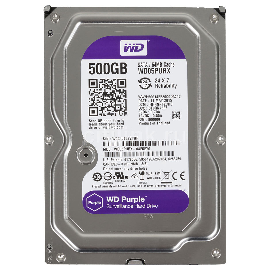 """Ổ Cứng Trong PC WD  500GB 3.5"""" Purple™"""
