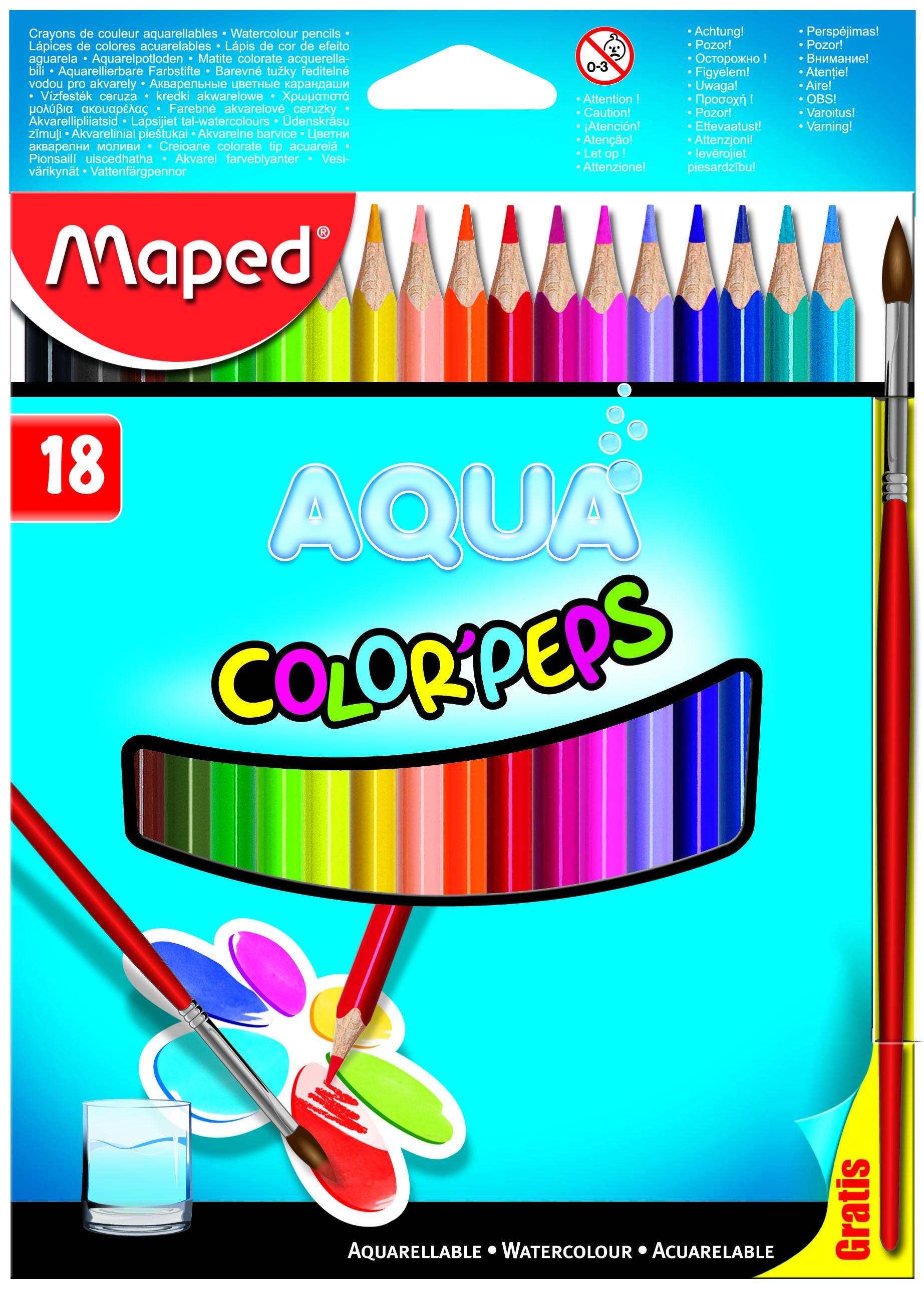 Bút Chì Màu Nước Maped Hộp Giấy - 18 Màu