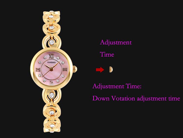 Đồng Hồ Nữ Dây Thép YOHEMEI CH366 - D8A (21mm) - Vàng Mặt Tím