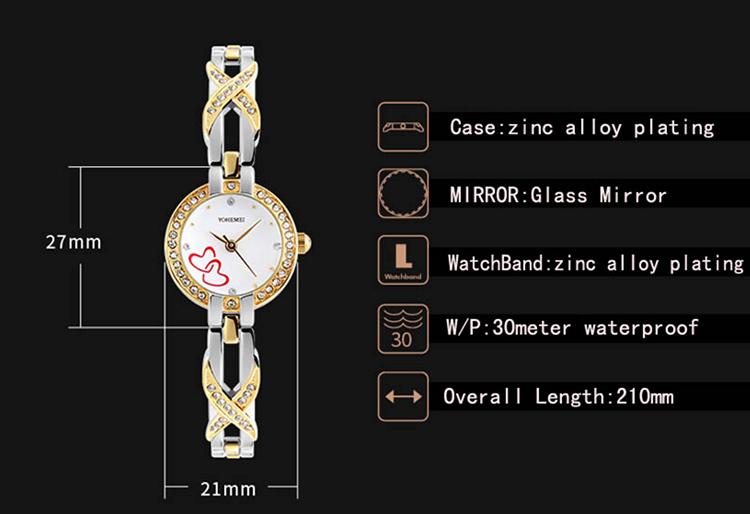 Đồng Hồ Nữ Dây Thép YOHEMEI CH382 - 4A (21mm) - Bạc Phối Vàng