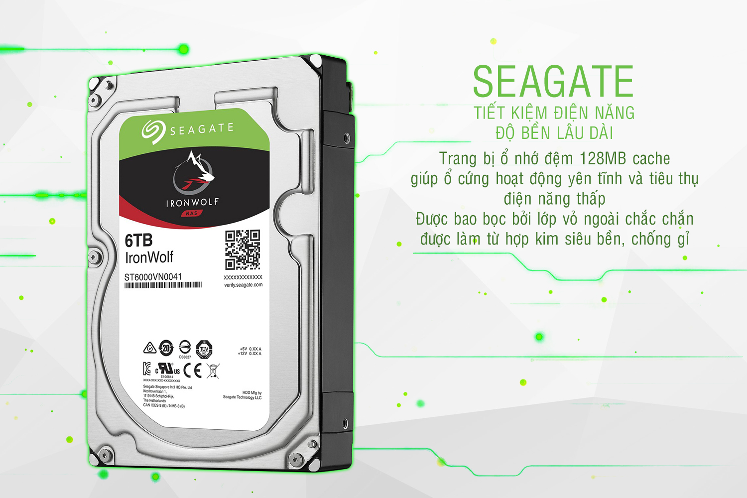 Ổ Cứng Trong Seagate IronWolf 6TB/128MB/3.5 - ST6000VN0041