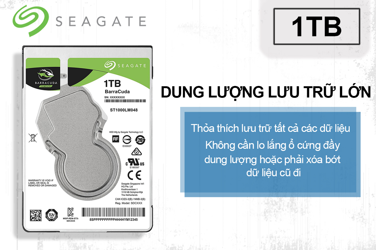 Ổ Cứng Trong Laptop Seagate BarraCuda 1TB/128MB/2.5/5400 - ST1000LM048