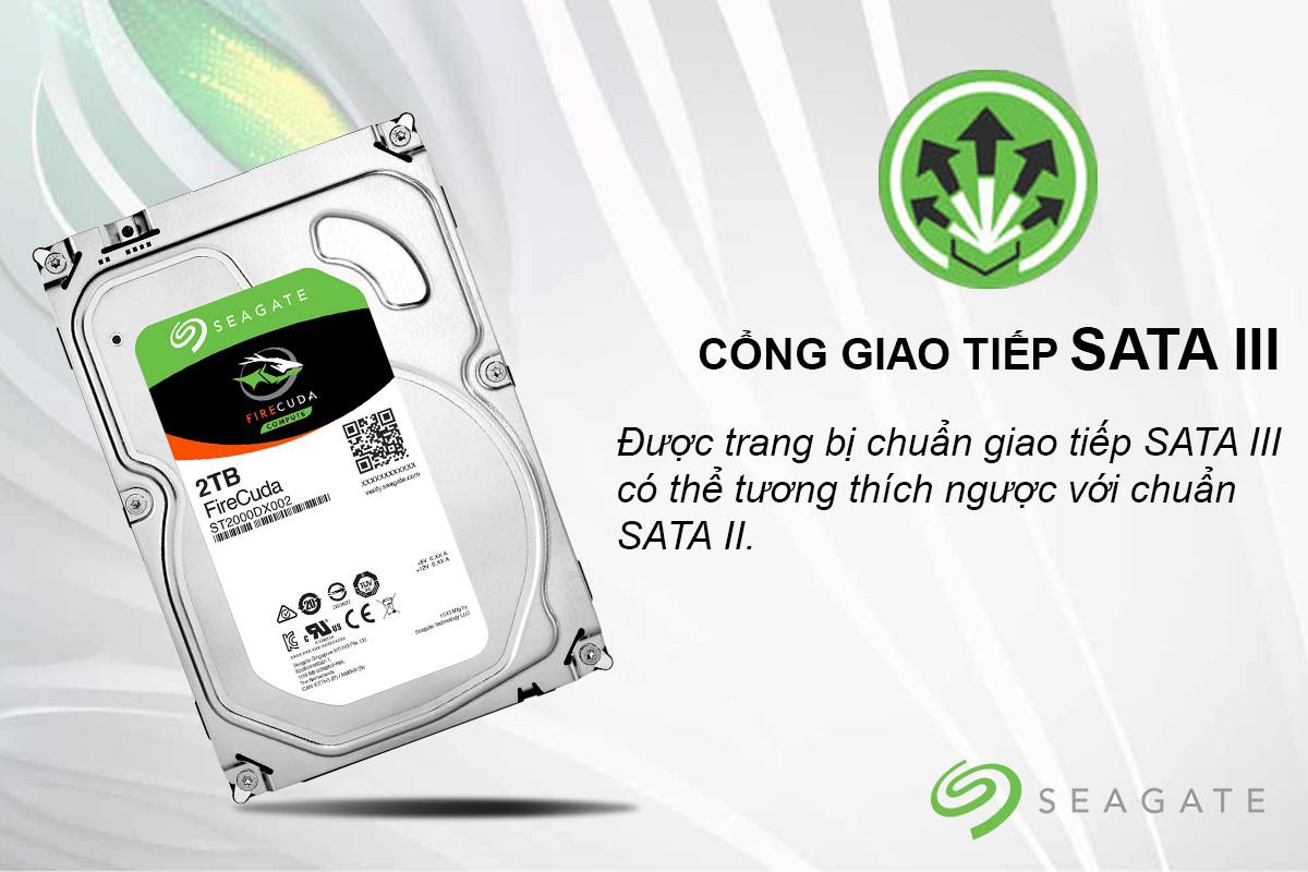 Ổ Cứng Trong Seagate FireCuda 2TB/8GB/3.5 - ST2000DX002