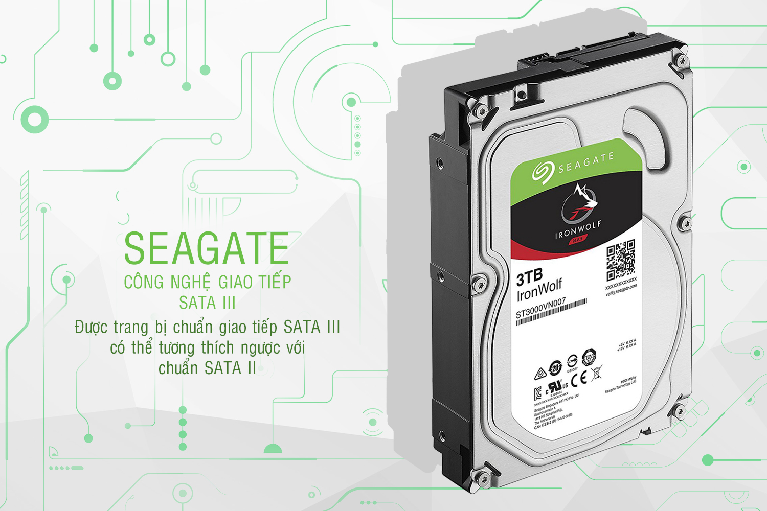 Ổ Cứng Trong Seagate IronWolf 3TB/64MB/3.5 - ST3000VN007