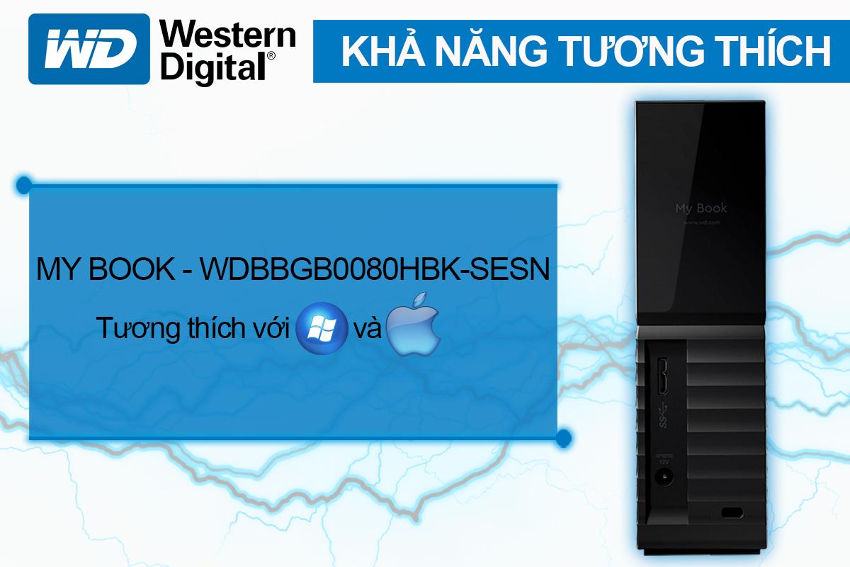 Ổ Cứng Di Động WD My Book 8TB 3.5 USB 3.0 - WDBBGB0080HBK-SESN