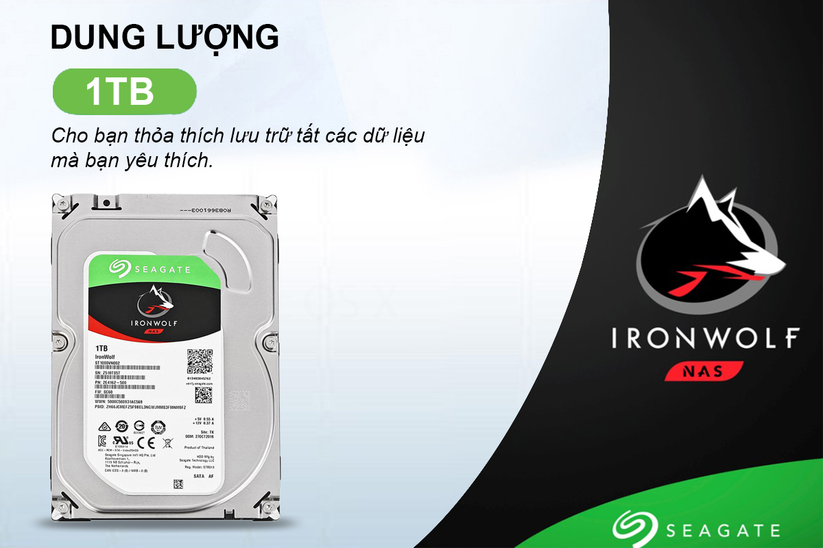 Ổ Cứng Trong Seagate IronWolf 1TB/64MB/3.5 - ST1000VN002