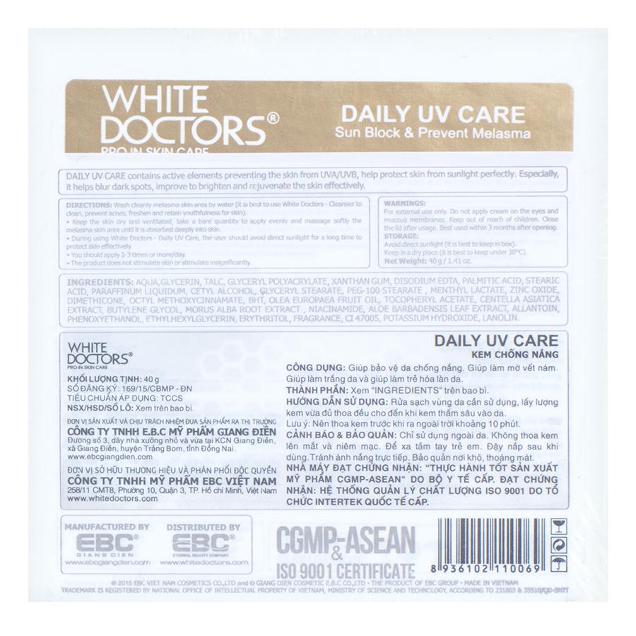 Kem Giảm Nám Chống Nắng White Doctors Daily UV Care (40g)