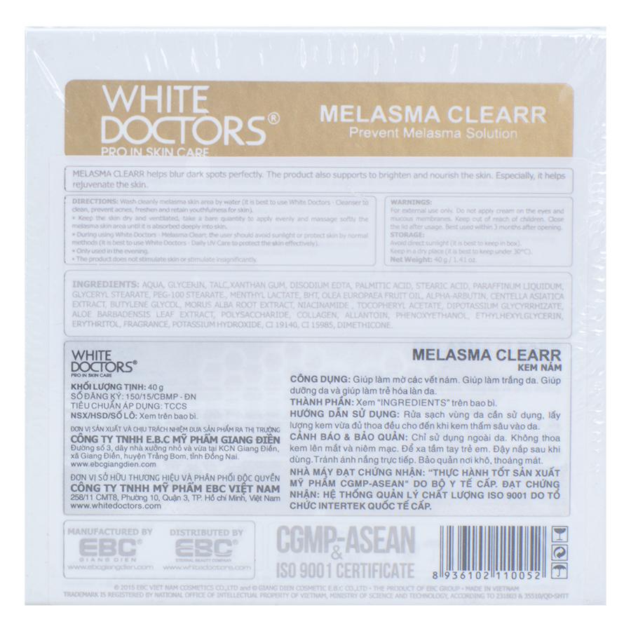 Kem Làm Mờ Vết Nám Thể Nhẹ White Doctors Melasma Clearr (40g)