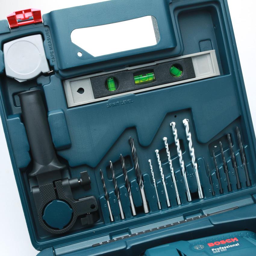 Máy Khoan Động Lực Bosch GSB 550 Set Và Bộ Dụng Cụ 100 Chi Tiết