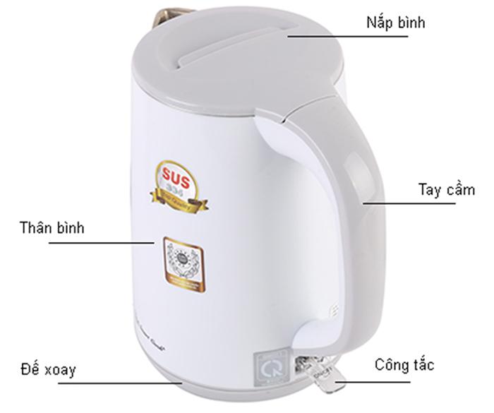 Ấm Đun Nước Siêu Tốc Smartcook KES-0219- 4020219 - 1.2L (Trắng)