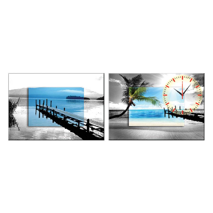 Tranh đồng hồ treo tường BIỂN CHIỀU DỊU ÊM - Q6D6_50DH-05 Thế Giới Tranh Đẹp