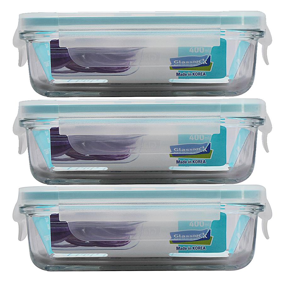 Bộ 3 Hộp Thủy Tinh Glasslock 400ml Và Túi Giữ Nhiệt Lunch Set 3