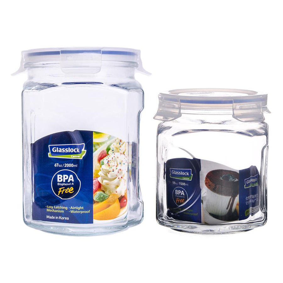 Bộ 2 Hũ Thủy Tinh Glasslock IG671 (1500 + 2000 ml)