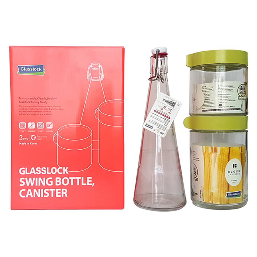Bộ 3 Hũ Thủy Tinh Glasslock IG886 (400 + 500 + 600 ml)