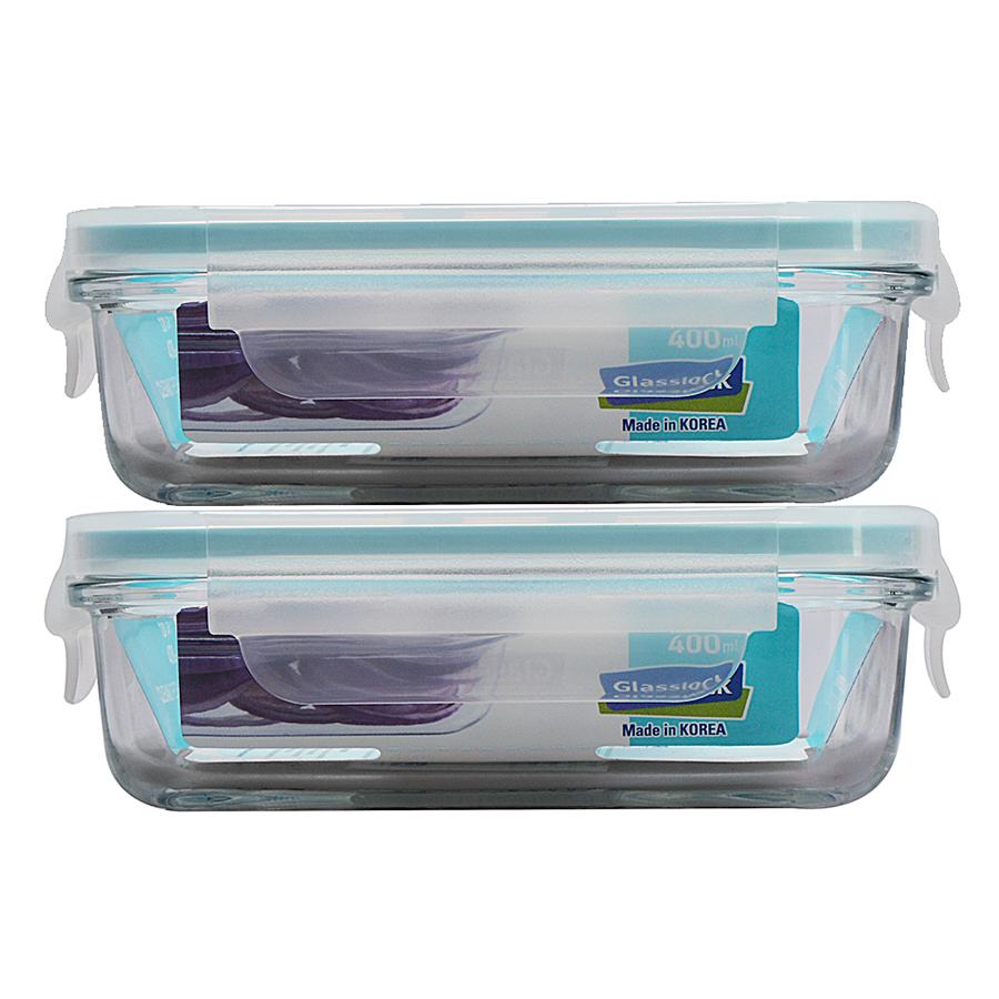 Bộ 2 Hộp Thủy Tinh Glasslock 400ml Và Túi Giữ Nhiệt Lunch Set 2