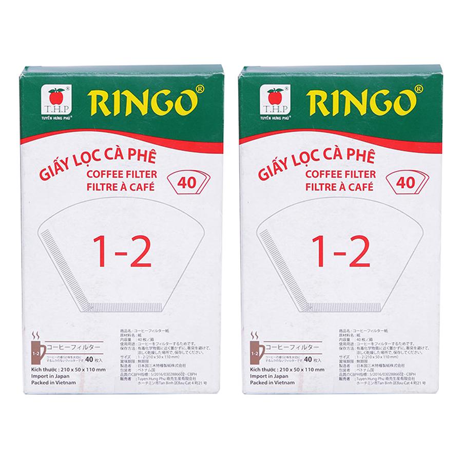 Bộ 2 Giấy Lọc Cà Phê Ringo 1 x 2 (Hộp 40 Tờ) - Trắng