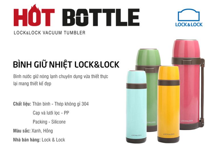 Bình Giữ Nhiệt Lock&Lock Vacuum Tumbler Rio LHC1447GRN (1L) - Xanh Lá