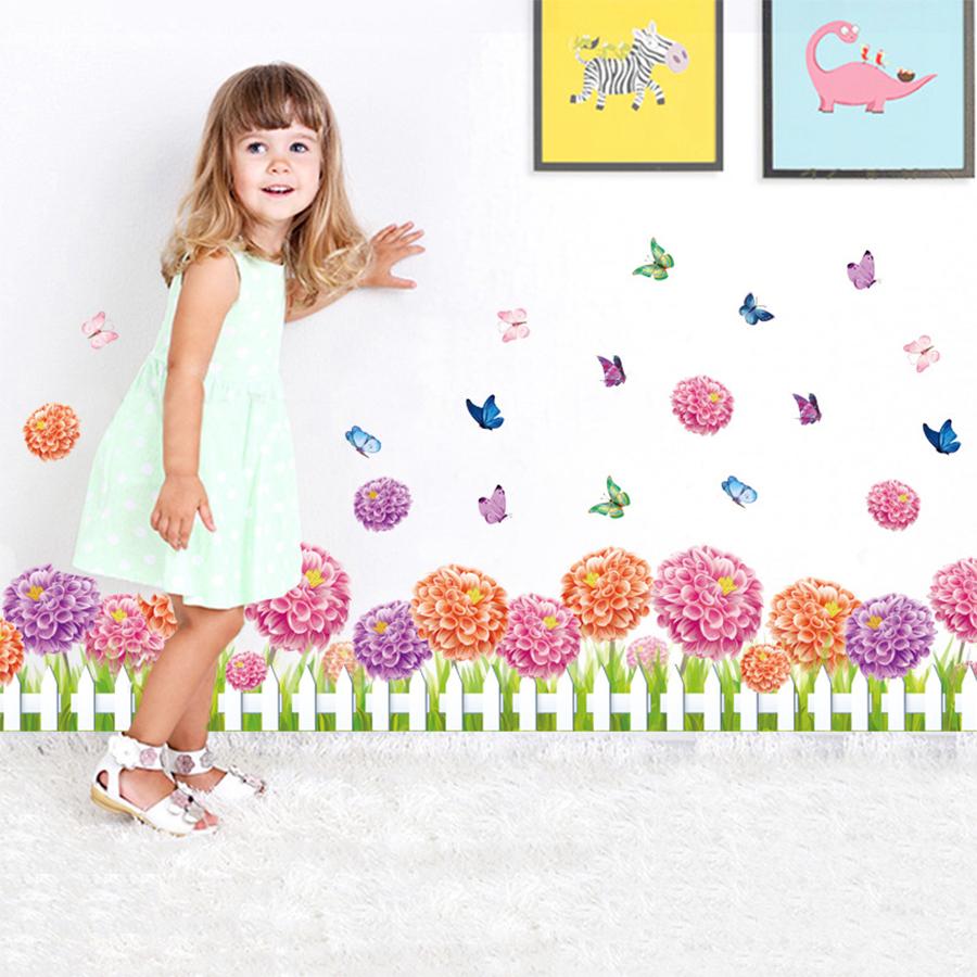 Decal Chân Tường Hoa Cúc Hồng Tím Lala Shop DC1550 (35 x 140 cm)
