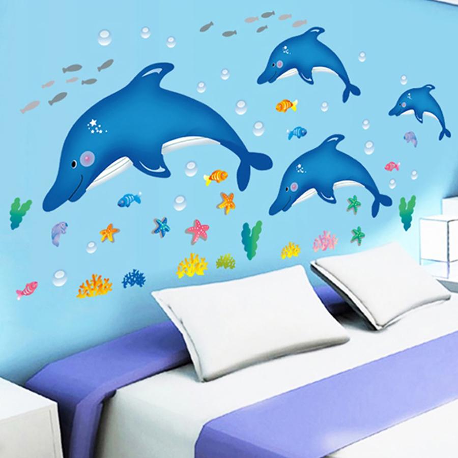 Decal Đàn Cá Heo Xanh Nhỏ Lala Shop DC680 (150 x 120 cm)