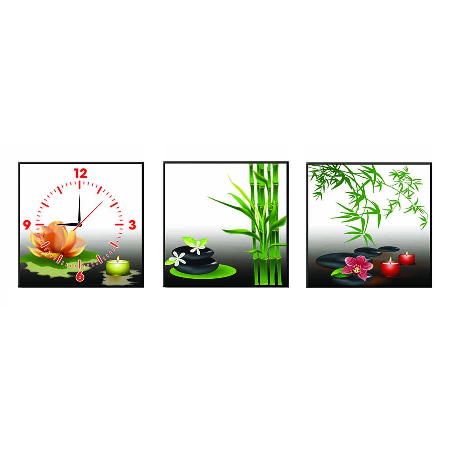 Tranh Đồng Hồ Treo Tường Bộ Ba Thế Giới Tranh Đẹp Tre Xanh Q6D8 (3)