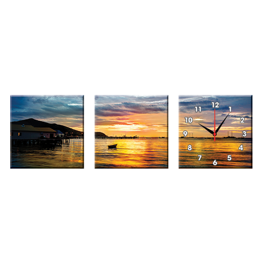 Bộ Ba Tranh Đồng Hồ Treo Tường Thế Giới Tranh Đẹp Q16-52-DH