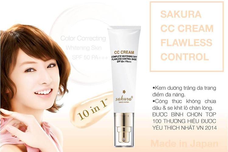Kem Dưỡng Da Trang Điểm Chống Nắng Sakura CC Cream Flawless Control (150g)