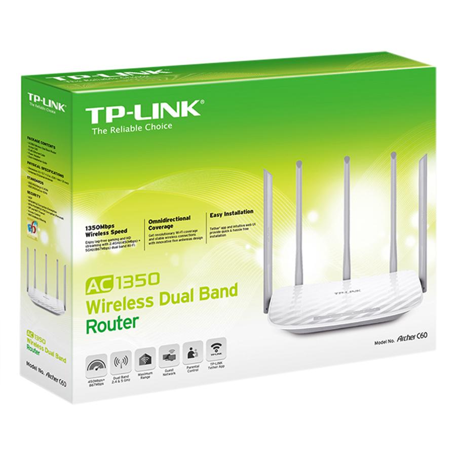 Router Băng Tần Kép Wi-Fi  AC 1350 TP-Link Archer C60 - Hàng Chính Hãng