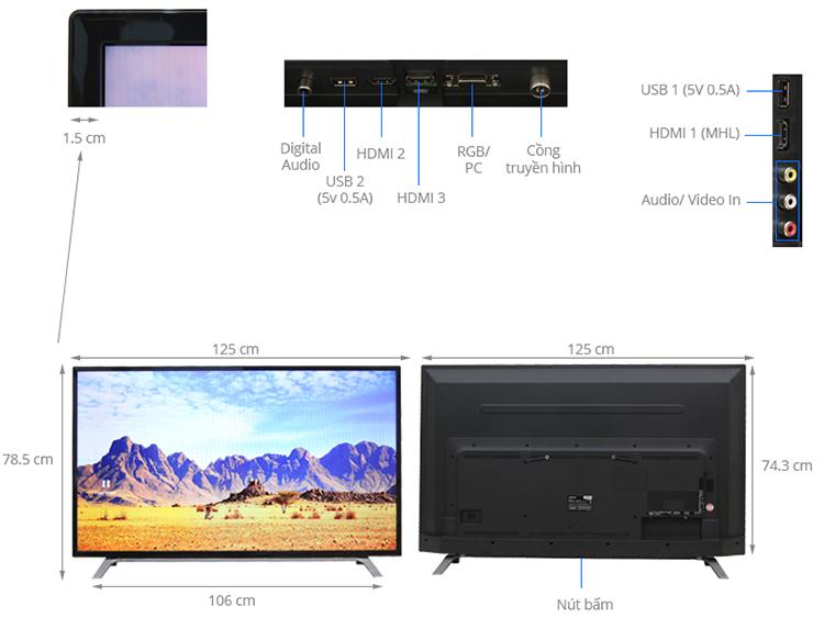 Tivi LED Toshiba 55 inch 55L3650 - Hàng Chính Hãng